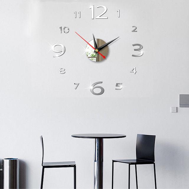 NEW Arrival Modern 3D Acrylic Digital Mirror Wall Sticker DIY Wall Clock Home Modern Decoration Crystal Mirror Vinyl Art Sticker