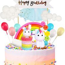 Unicorn Cake Topper Kit Cloud Rainbow Balloon Happy Birthday Banner Cake Decoration For Boys Girls Kids Birthday