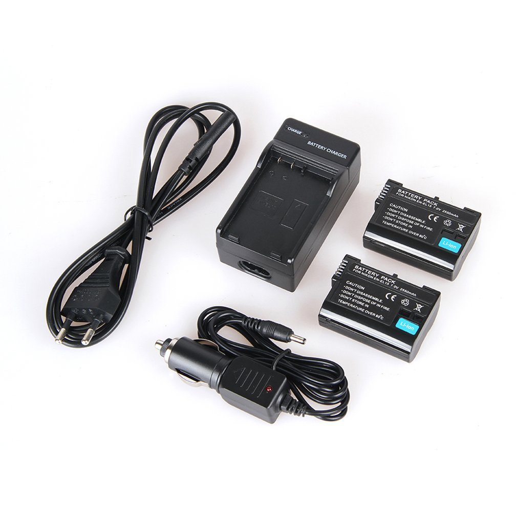 2pcs 2550mAh EN-EL15 EL15 Camera Battery + Charger +Car Cable For Nikon D7000 D7100 D800 D800E D600 D610 D810 D500 D7200 V1