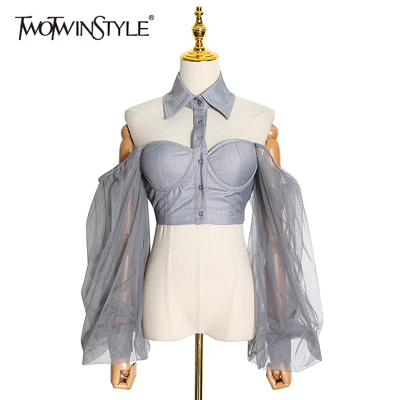 TWOTWINSTYLE Casual Hollow Out Women Shirt Lapel Collar Lantern Long Sleeve Patchwork Mesh Short Blouses For Female Fashion Tide
