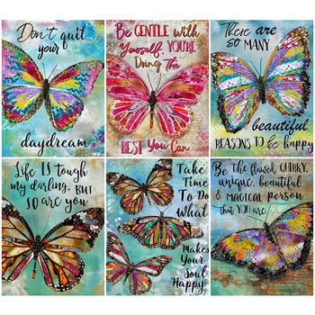 HUACAN Butterfly Diamond Embroidery Full Square Painting Animal Picture Handcraft Mosaic Art Kit Home