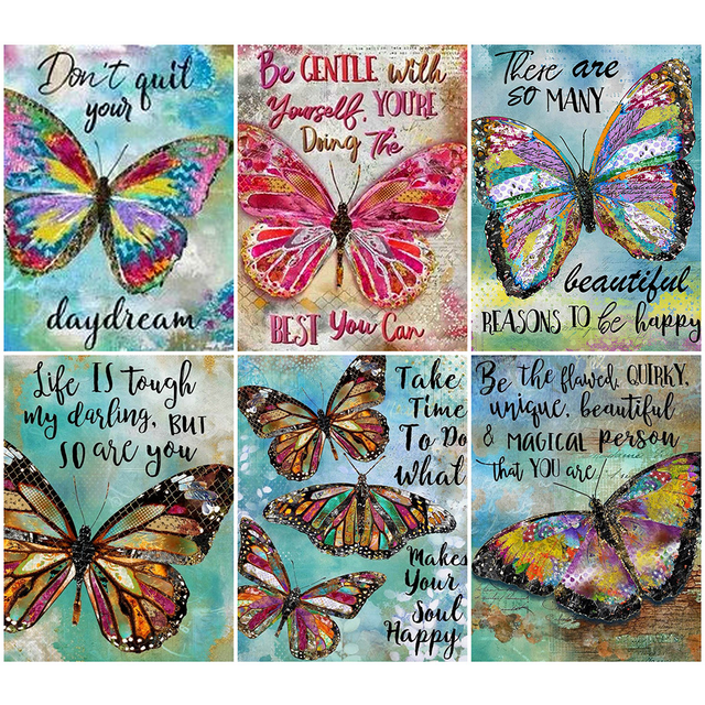 HUACAN Butterfly Diamond Embroidery Full Square Painting Animal Picture Handcraft Mosaic Art Kit Home Decoration