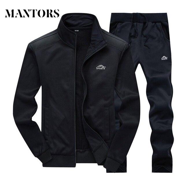 Casual Tracksuit Men 2018 Autumn New Zipper Jackets+Pants 2 Pieces Sets Male Slim Fit Sportswear Brand Fashion Men's Solid Set
