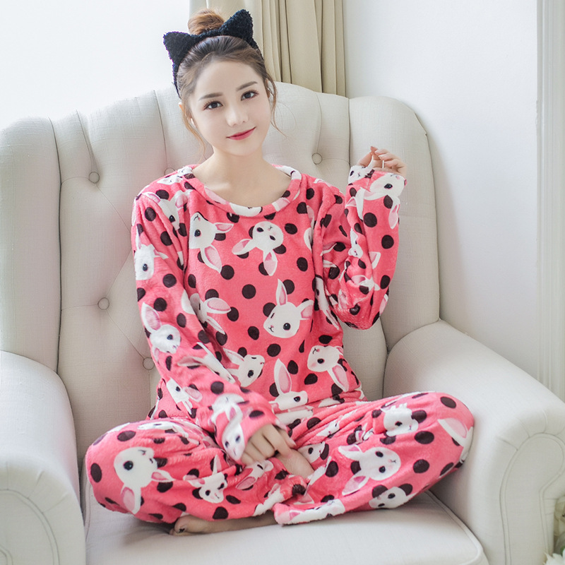 Betyline 2019 New Winter Pajamas For Women Sleepwear Warm Flannel Long Sleeves Pajamas Cute Animal Homewear Thick Homewear 158
