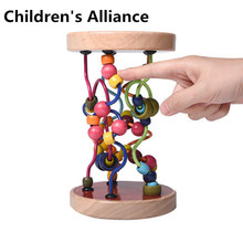 Boys Girls montessori Wooden Toys Wooden Circles Bead Wire Maze Roller Coaster Educational Wood Puzzles Kid Toy puzzles alatoys bb216 play children educational busy board toys for boys girls lace maze toywood