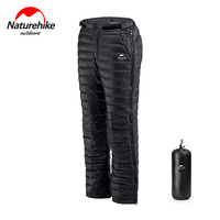 Naturehike bilateral zippers down pants thicker windproof waterproof breathable men women ultra light white goose velvet pants