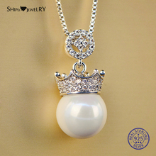 Shipei Silver 925 Jewelry Crown Pearl Necklace for Women Genuine 925 Sterling Silver Round Pearl Necklace Wedding Birthday Gift u7 100% 925 sterling silver 3d little angel necklace for girl women birthday gift dainty jewelry silver 925 chain