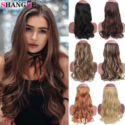 SHANGKE Long Curly Wavy Synthetic Hair Extension Clip In Hair Piece Heat Resistant Fiber Ombre Black Brown Gray For Women