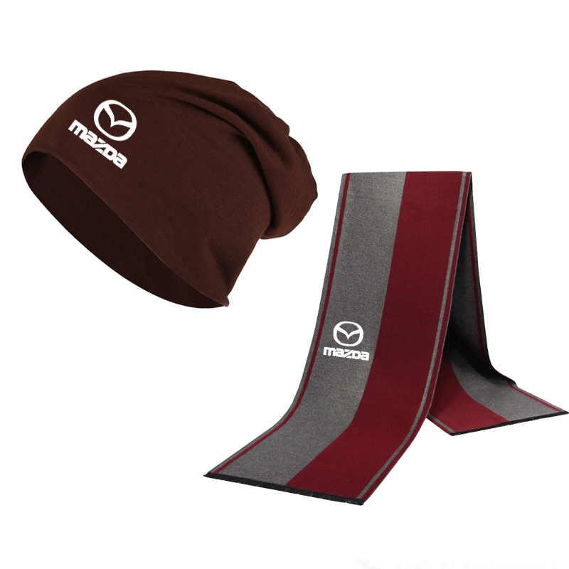 Winter Beanie Hat Mazda Car Logo Men Hat Scarf Solid Color Warm Cotton Scarf Hat Set Male Female Sports Hat Scarf Set 2 Pcs