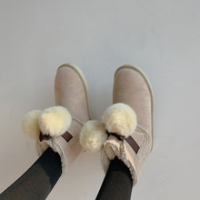 Women Snow Boots 2.5 CM Cute Furry Decoration Round Toe Ankle Boots Ladies Winter Keep Warm Non Slip Women Shoes Black Apricot(China)