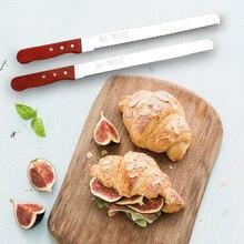 В настоящее время Доступна ручка из плотной древесины 14 дюймов толстые тонкие зубья торт нож для хлеба нож тонкий зазубренный нож инструмент для выпечки
