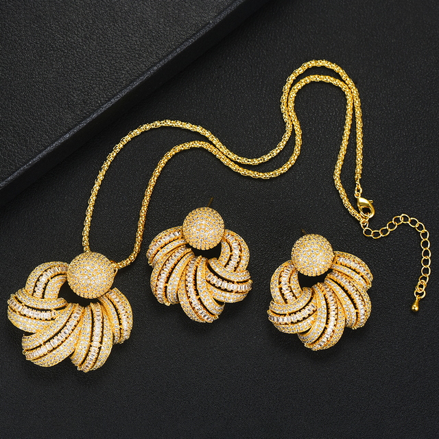 Trendy Flower Earrings Pendant Set  4