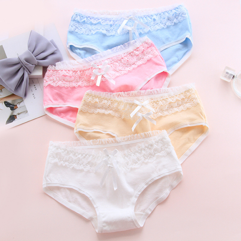 New Arrived Young Girl Underwear 6pc/bag Lace Cotton Candy Solid Briefs Ladies Girls Panties   Pant Sales Direct L,XL