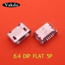500 unids/lote 5Pin 6,4mm USB Micro 5pin DIP conector hembra para teléfono móvil Mini USB jack PCB enchufe de soldadura de boca plana