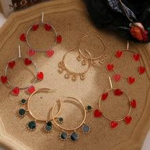 Bohemian Red Enamel Heart Round Hanging Earrings For Women Fashion Big Circle Geometric Dangle Earrings Female Statement Jewelry