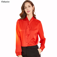 Natural Silk Blouse Women Fall 2019 Long Sleeve Luxury Red Office Shirt Buttoned Down Plus Size Satin