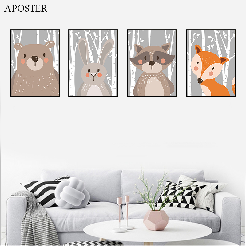 Cartoon Forest Animals Poster Prints Bear Rabbit Fox Canvas Painting On The Wall For Kids Bedroom Nursery Art Picture Room Decor