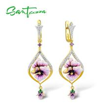 SANTUZZA Silver Earrings For Women Pure 925 Sterling Silver Pink Flowers Drop Earrings Gift Wedding Fine Jewelry Handmade Enamel