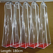 Wholesale Length 180cm Transparent Wedding Dress Dust Cover Extra Large Waterproof PVC Solid Clothing Garment Bags