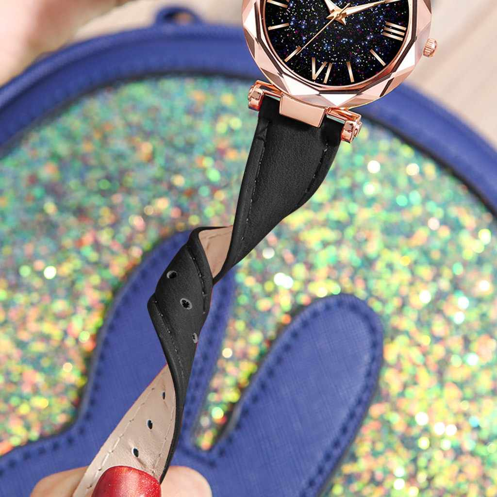 Relogiio feminino 女性腕時計 2020 ユニセックス星ポイントつや消しベルト腕時計点線ローマスケール腕時計女性の腕時計