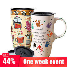 500ml Creative Hand Painting Ceramics Coffee Mug beer cup Large Capacity With Lid mugs Tea Cups Novelty Gifts tumbler