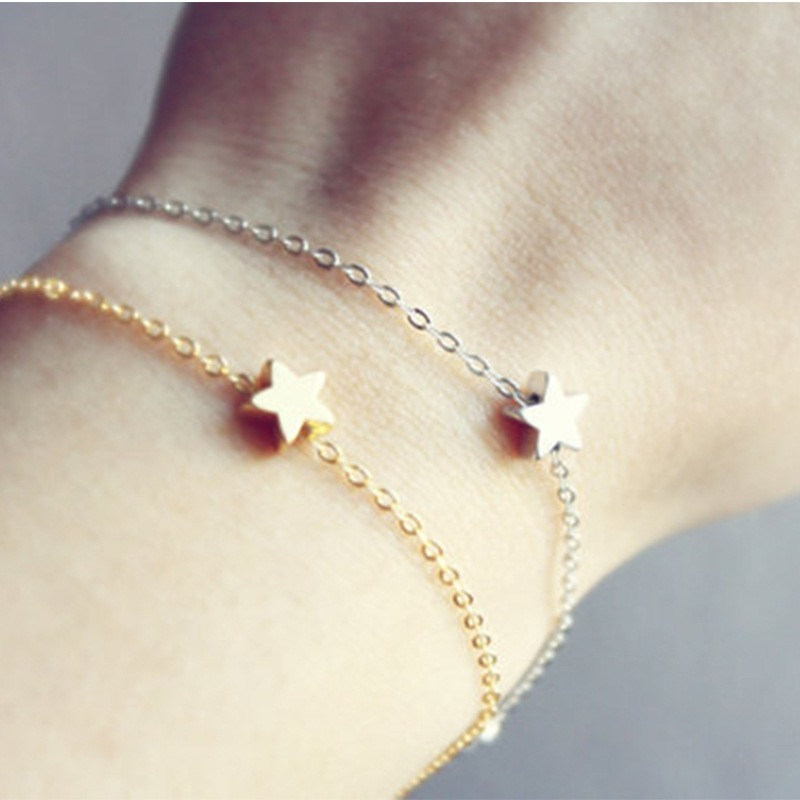 HebeDeer Charms Bracelets Women Tassel Star Bracelet Simple Girl Rose Gold Color Fashion Jewelry Bohemia Stainless Steel Armband