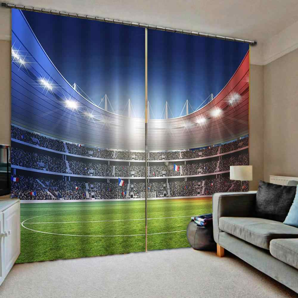 Custom Football field Windows Curtains Thin for Living Room Bedroom Decorative Kitchen Curtains Drapes Treatments Dropship