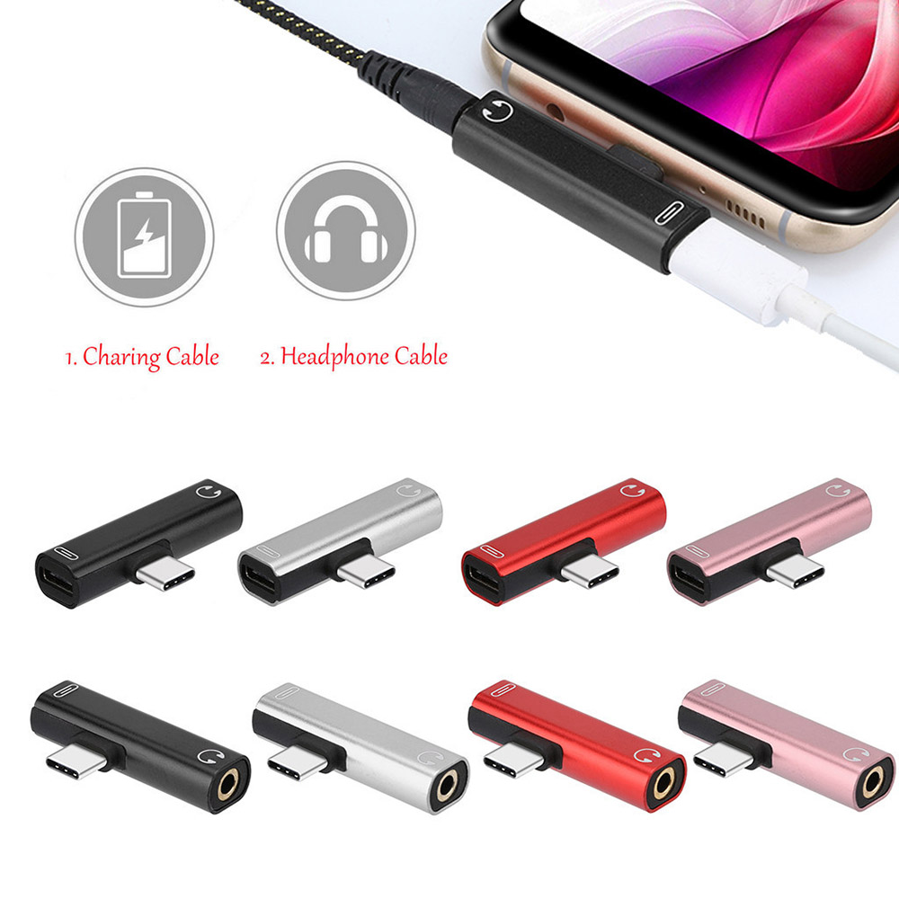 Type C To Type-C 3.5mm Aux Audio Charge Adapter For Huawei P30 P20 Pro Xiaomi Mi 8 6 Samsung S8 S9 Plus 3.5mm Headphone Adapter
