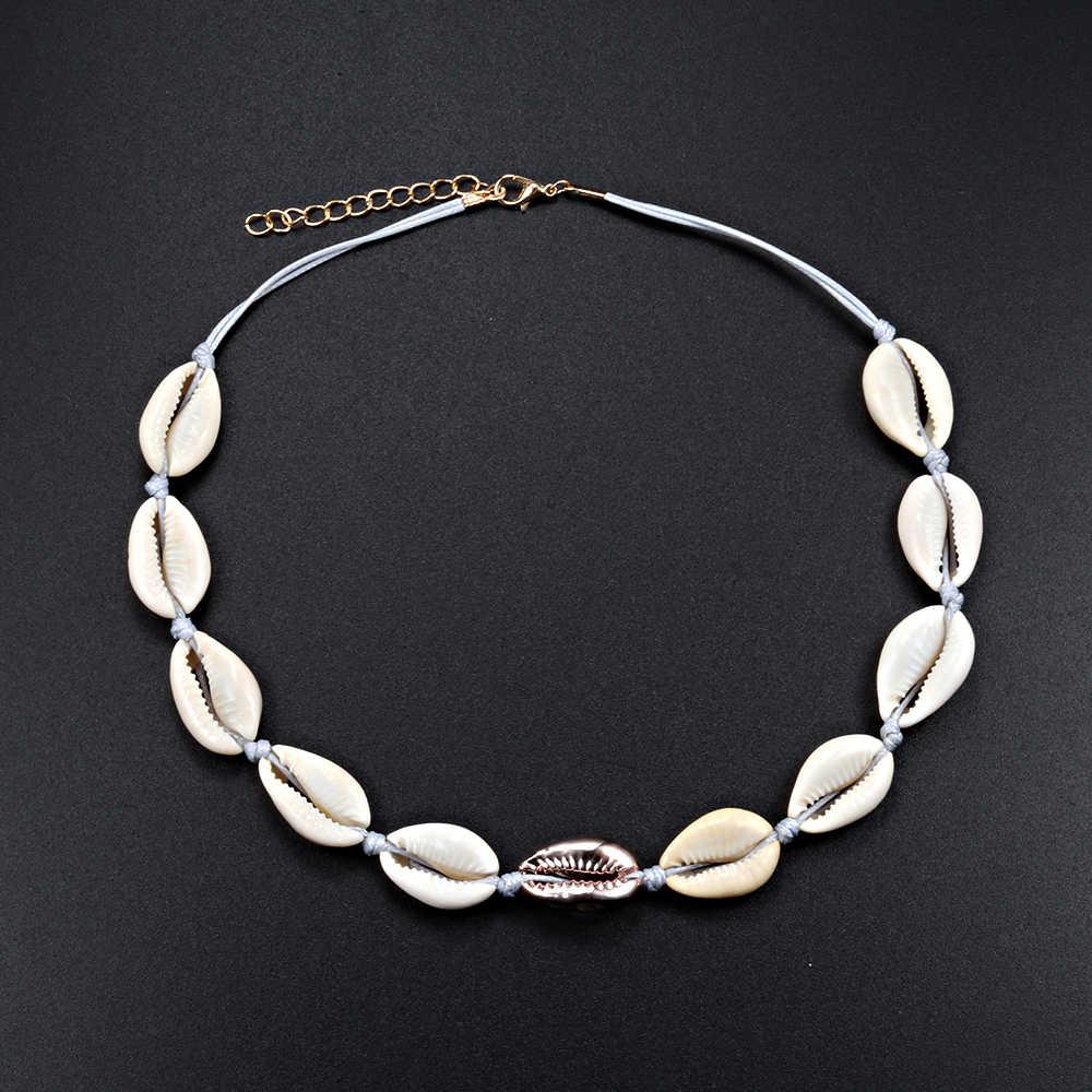 מקורי תכשיטים Boho קסם נשים פגזי שרשראות רוז זהב טבעי ים קונכייה חבל לסרוג קולר מתכוונן ילדה מתנת DIY