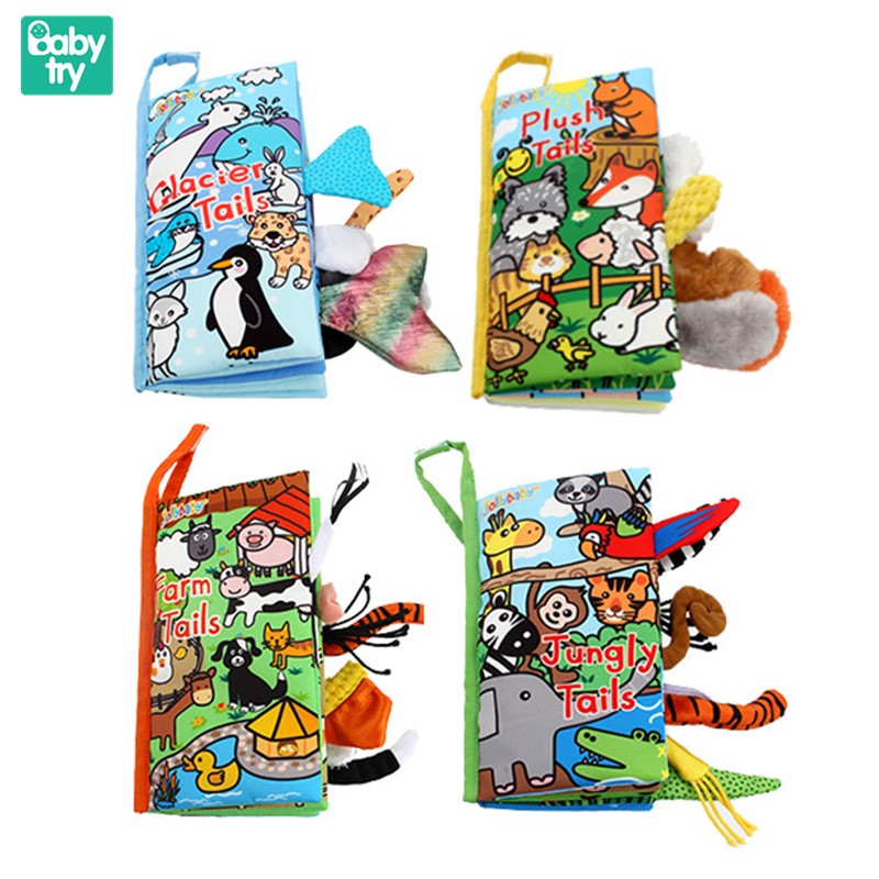 New Animals Tail Cloth Books 3D Rustle Sound Soft Cloth Reading Educational Baby Toys For Newborn Intelligence Toddler Gift