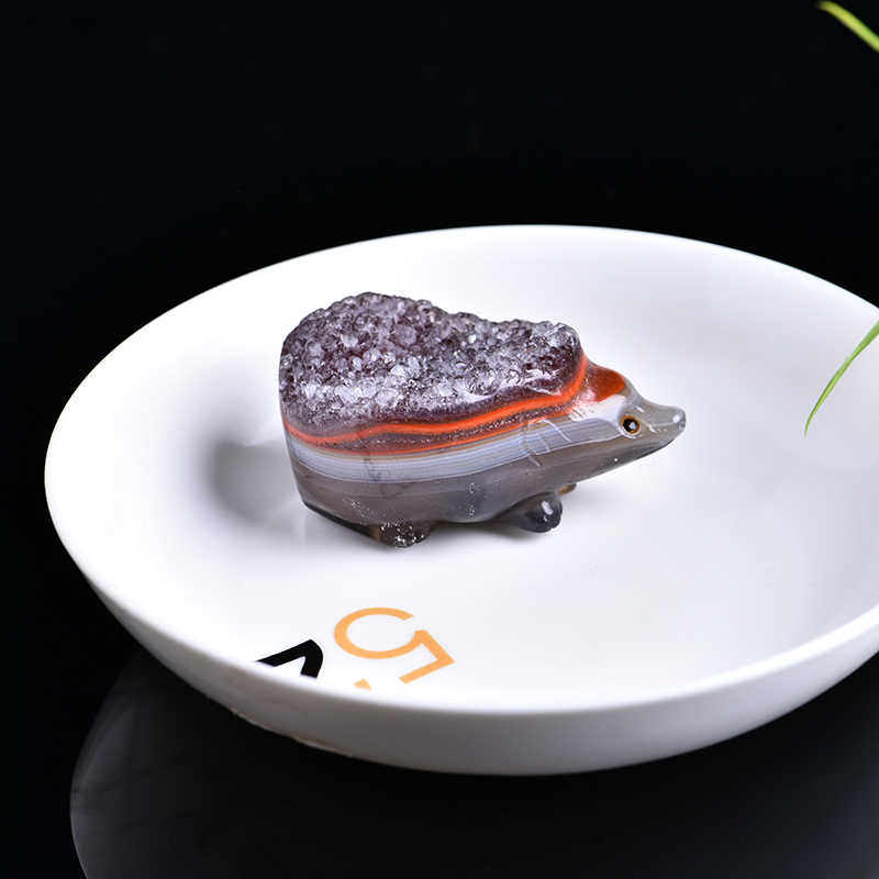 1 pc ágata de cristal natural ouriço minério de cristal de quartzo cura mágica ágata de cristal disponível decoração para casa presente de festa diy