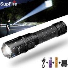 Supfire J6 Military LED Flashlight Glare Self-Defense Torch Light Adventure Camping Searchlight USB Rechargeable Portable Lamp