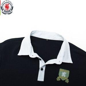 Image 3 - Fredd מרשל 2019 סתיו חדש ארוך שרוול פולו חולצת גברים אופנה רקום פולו חולצה 100% כותנה מזדמן הדפסת Polos חולצות 063