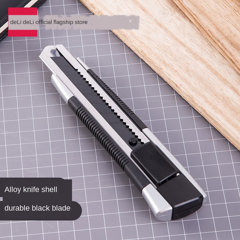 Black Blade Knife Thickened Zinc Alloy Material Encapsulated Cutting Self-Locking Blade Large Heavy-Duty