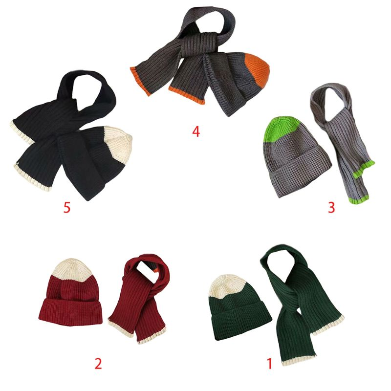 2 Pcs/set Children Wool Hat Scarf Suit Autumn Winter Boys Girls Casual Outdoor Color Matching Knit Cap Scarves For Kids
