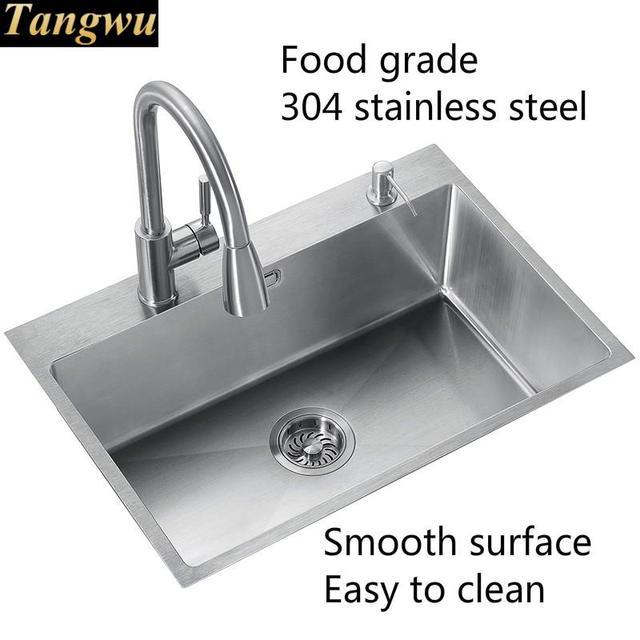 Évier manuel simple en acier inoxydable | Livraison gratuite, pour la cuisine, à usage domestique, en vogue, modèle 304 65x4 5/75x45 CM, offre spéciale