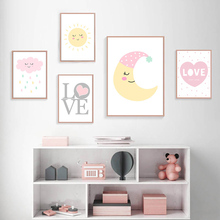 Cartoon Moon Sun Clouds Posters And Prints Quotes Canvas Nursery Poster Print Wall Pictures For Kids Bedroom Decor
