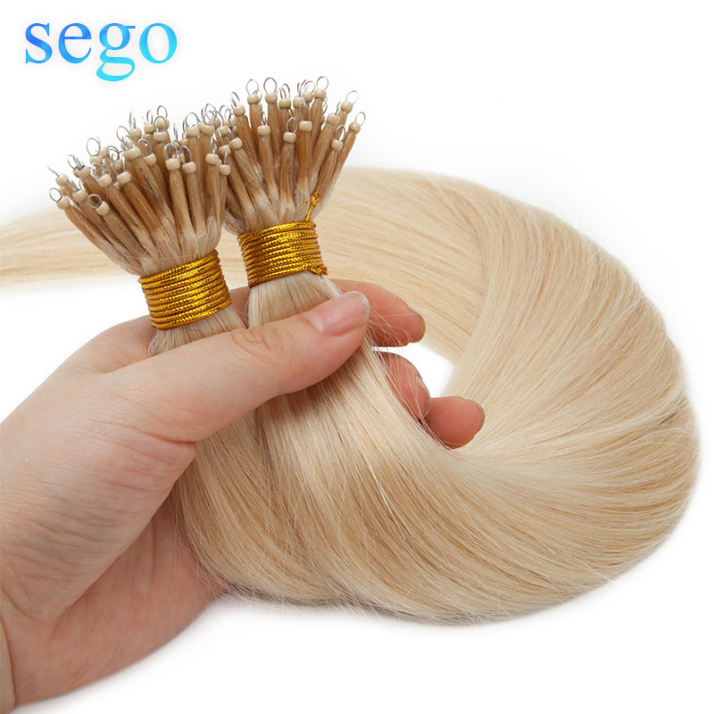 SEGO 16-24 Inch 1g/s 50pcs Real Human Hair Nano Ring Hair Extensions Machine Remy Pre-bonded Straight Nano Tip Indian Hair