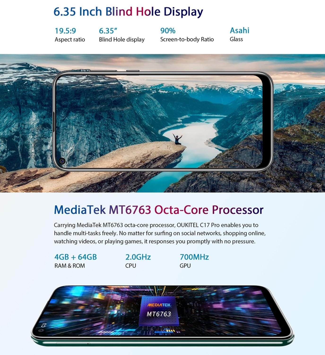 "Image 4 - Oukitel C17 Pro Android 9.0 Pie Smartphone Face ID 6.35"" Pole notch Screen 4GB RAM 64GB ROM MT6763 Octa Core 4G Mobile Phone-in Cellphones from Cellphones & Telecommunications"