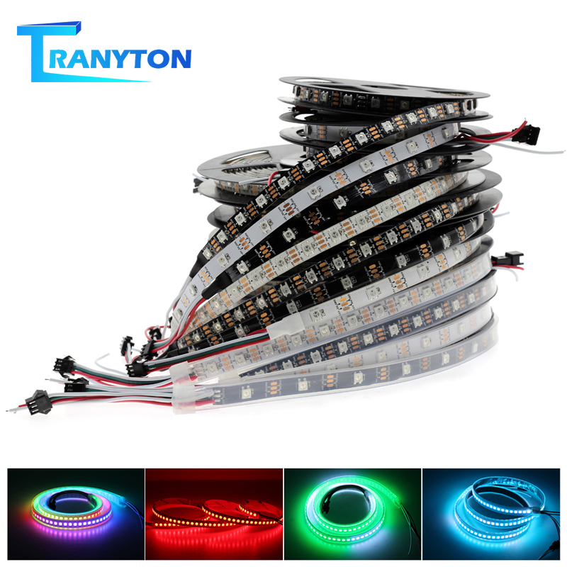 WS2812B RGB Changeable Smart Pixel LED Strip DC5V Black / White PCB 30 / 60 / 144 LEDs/m