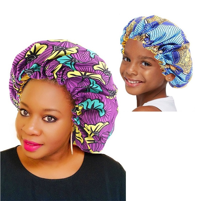 Extra Large Double Layer Parent-child Sleep Cap Adjustable African Print Ankara Satin Bonnet Festival Cap Turban Hat Nightcap