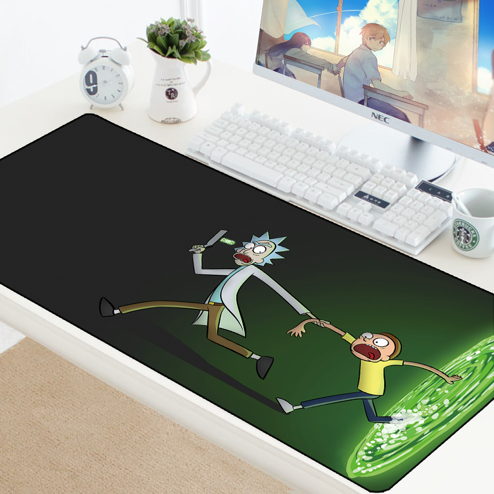 900x400MM Rick And Morty Mousepad HD Pattern Office Desk Padmouse Anime Keyboard Computer Large XXL Play Mats For Csgo Mouse Pad