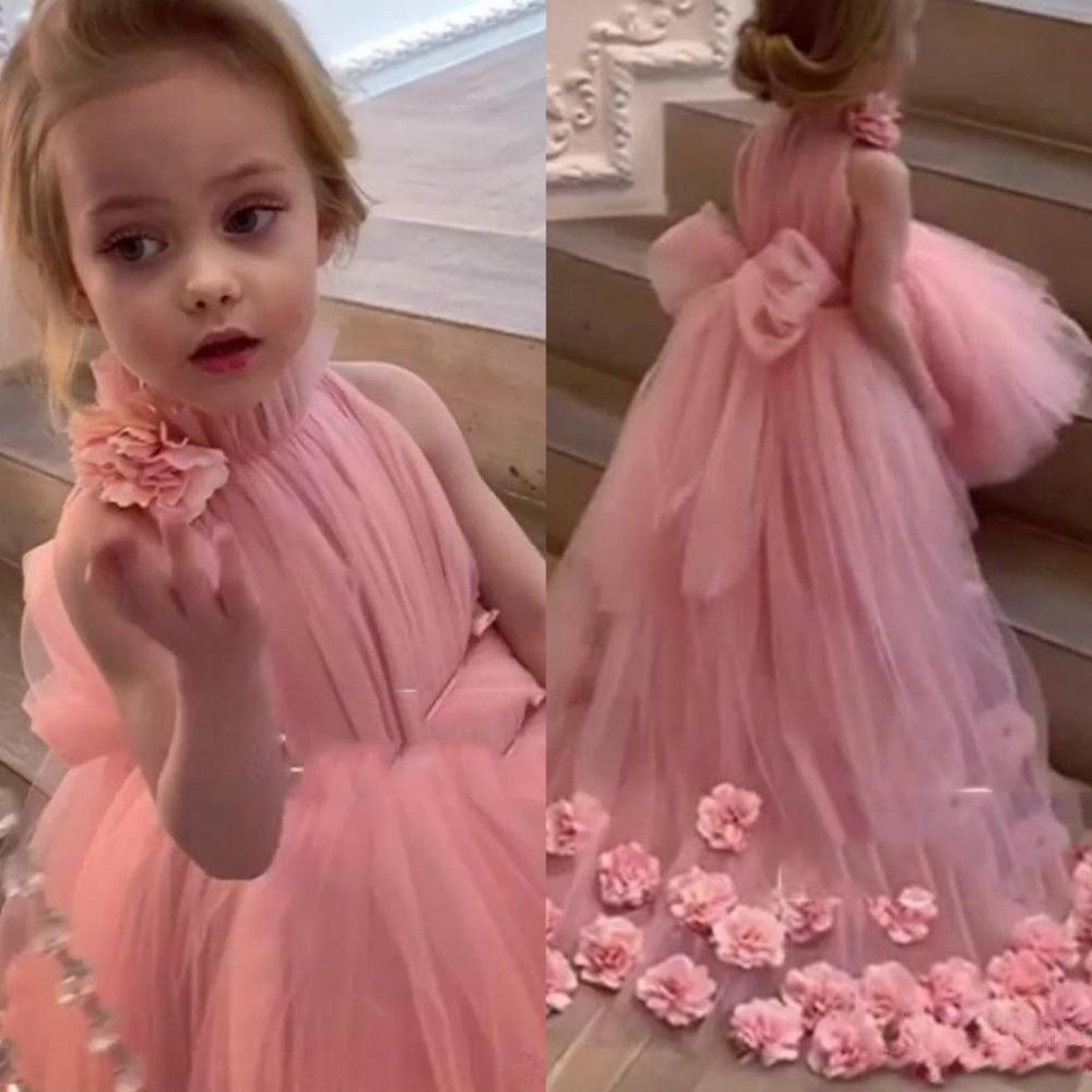 Lovely Pink Flower Girl Dresses For Weddings High Neck Tulle 3D Floral Applique Girls Pageant Gowns Formal Party Wear Dress