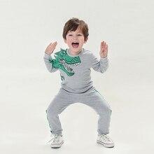 Весенняя одежда для маленьких мальчиков хлопковый свитер с длинными рукавами и рисунком динозавра+ штаны детский спортивный костюм из 2 предметов для мальчиков; комплект одежды; От 2 до 8 лет
