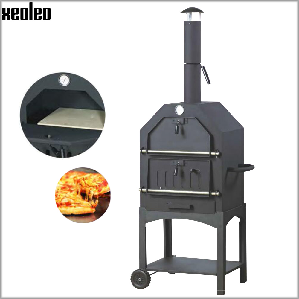 XEOLEO Outdoor Pizza Oven Portable Pizza Oven Wood-Fired Bread Baker Charcoal BBQ Grill Firewood Baking Stove Cold Rolled Sheet