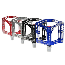 цена на 1 Pair Aluminum Alloy Road Bike Pedals Ultralight MTB BMX Sealed 3 Bearing Bicycle Flat Pedals Big For Road Bicycle Accessories