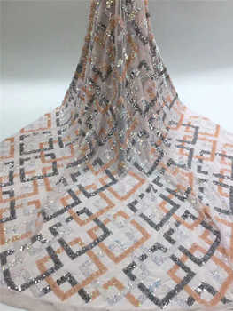 Factory offer Nigerian wedding lace 2020Popular African Sequince Lace tulle lace fabric For Spring Summer long Dresses