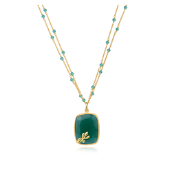 Piara Cushion Faceted Green Agate Pendant Necklace With 5cm Extender Chain To Adjust The Length