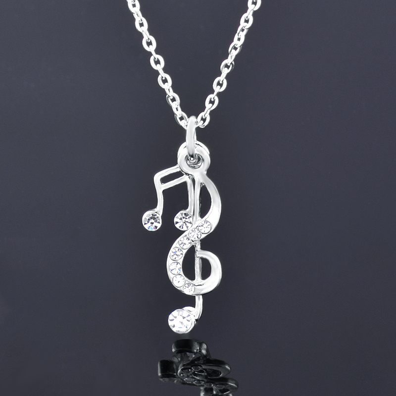 Music Notes and Violin Clef Pendant with Cubic Zirocnia