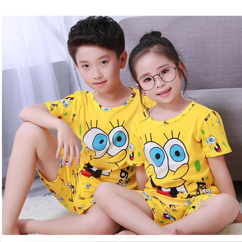 Kids Pajamas Sets Summer Children Girls Boys Suits Nightwear Cartoon Short Sleeve Casual Nightgown Suits Clothing A0132